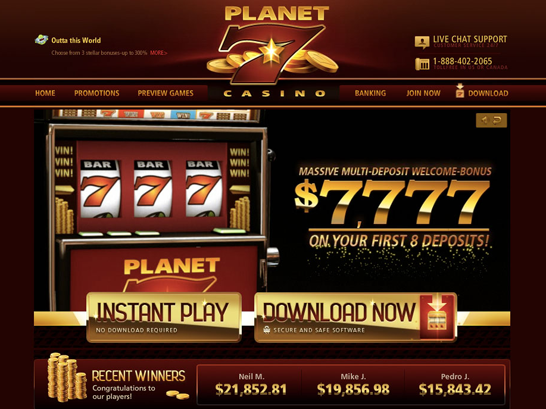Planet 7 Casino - 100% Bonus up to $7777 